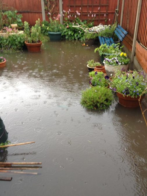 FLOODING: A back garden on Bourne Street, Netherfield (Picture courtesy of Adele Sarno)
