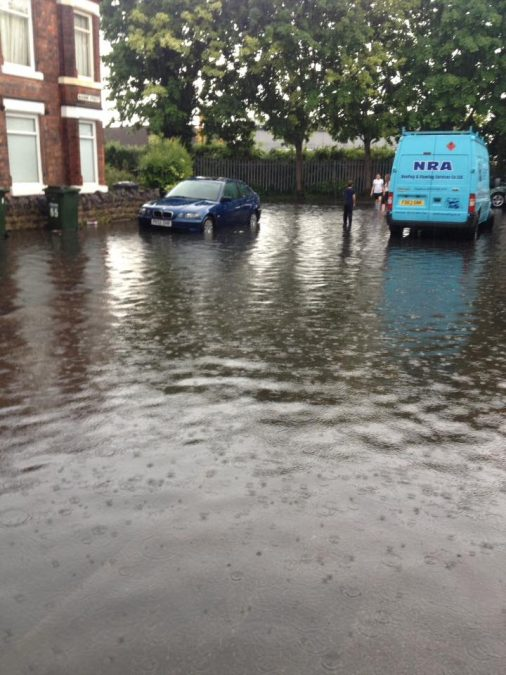FLOODING: The bottom end of Bourne Street is flooded again (Picture courtesy of Adele Sarno)
