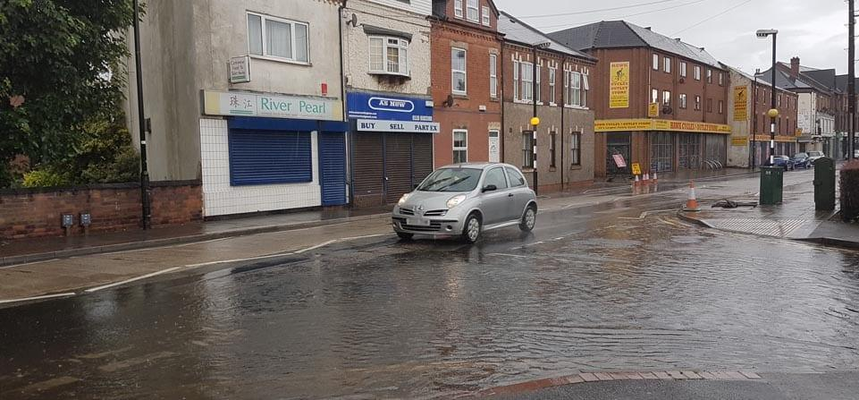 FLOODING: Victoria Road at the junction with Bourne Mews is badly affected