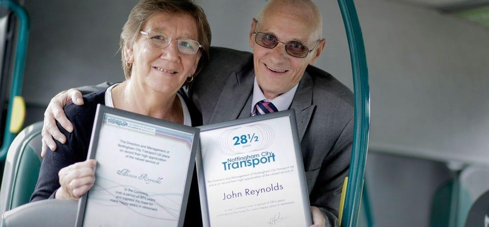 Nottingham City Transport workers ride into sunset together after over 60 years of service
