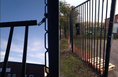 PICTURED: Damage to the fence and gates at Gedling Play Forum's site on Wollaton Avenue