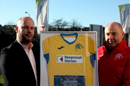 GESTURE: Gedling Miners Welfare FC presented representatives from Keepmoat Homes with a framed football shirt