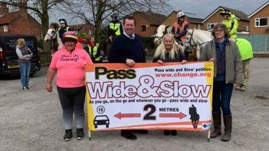 Photo of MP joins horse riders in Calverton to encourage motorists to Pass Wide and Slow to prevent accidents