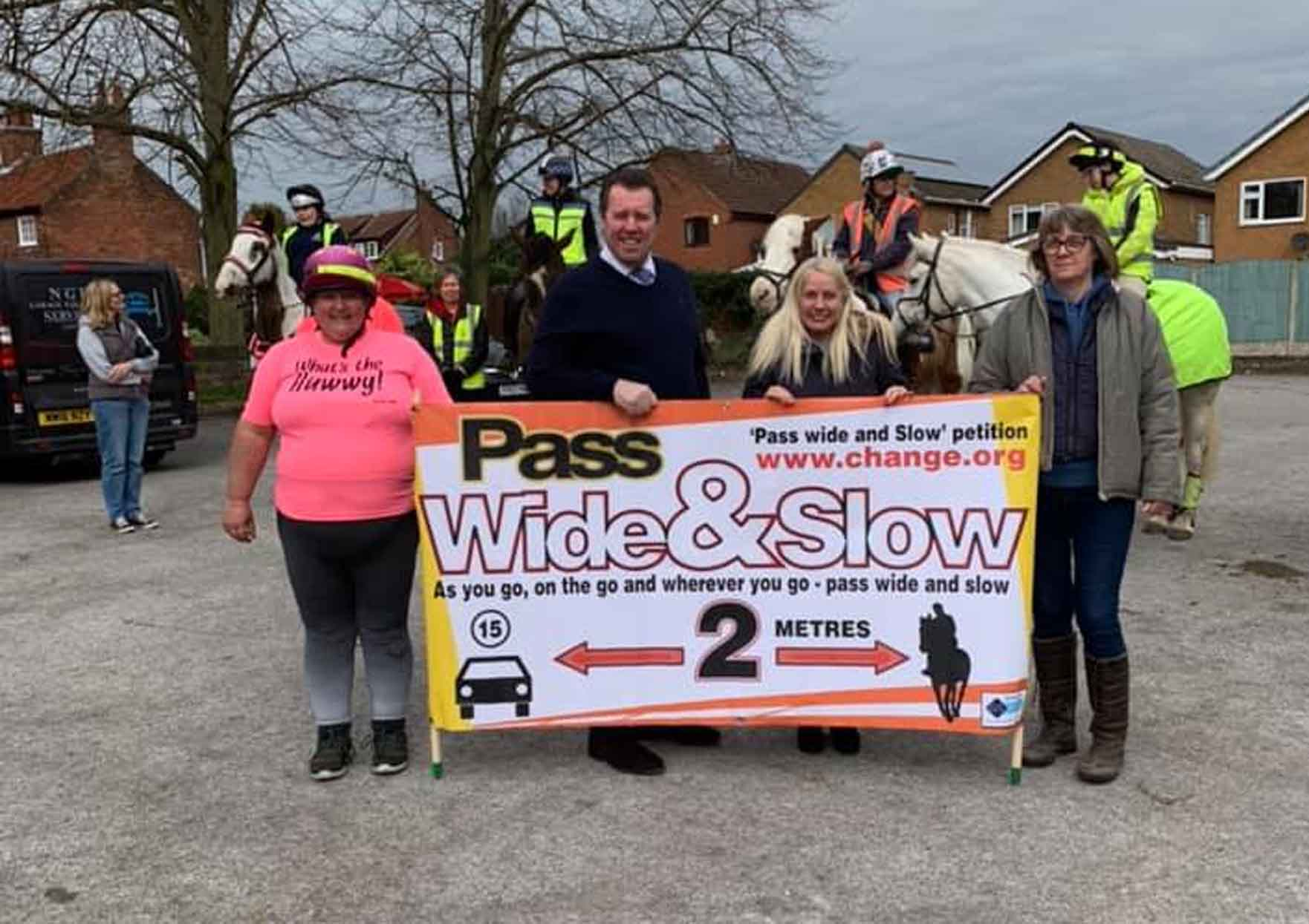 MP joins horse riders in Calverton to encourage motorists to Pass Wide and Slow to prevent accidents