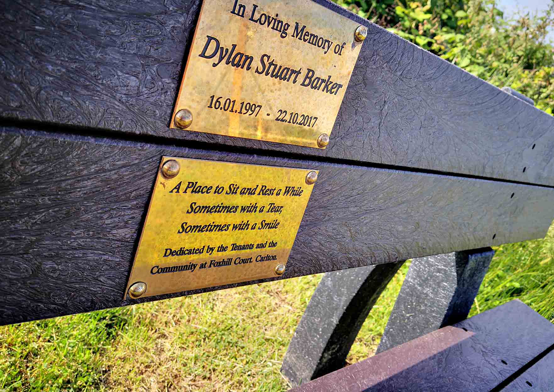 Friends and family gather at Gedling Country Park to see unveiling of memorial bench for Dylan Barker