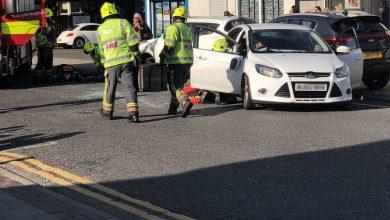 Photo of Car overturns after three-vehicle crash in Gedling