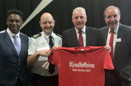 PICTURED: Roger Henry, left, with Vernon Coaker MP and crime commissioner Paddy Tipping
