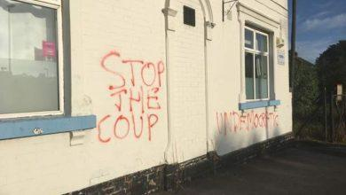 Photo of Graffiti sprayed on Conservative club in Arnold