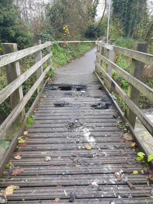 Footbridge at Bestwood Country Park closed after suspected arson attack