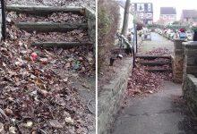 Photo of Angry residents call on Gedling Borough Council to remove fallen leaves from steps at Carlton Cemetery