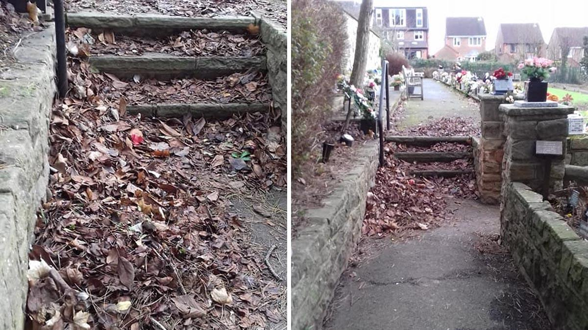 Steps covered in leaves in Carlton Cemetery