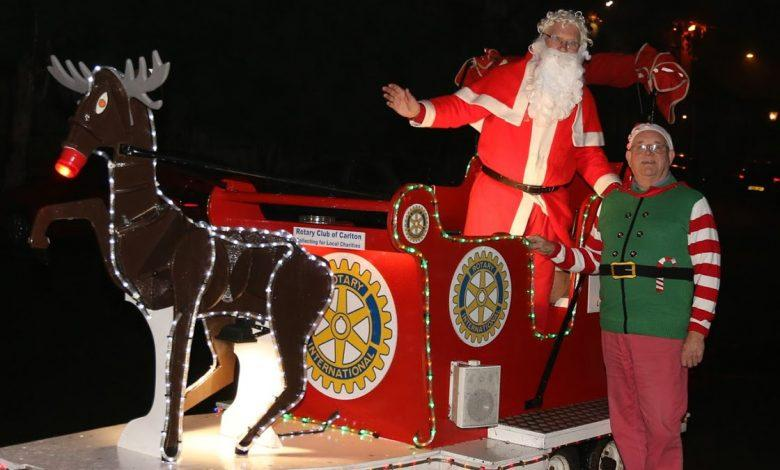 Santa on rotary club float