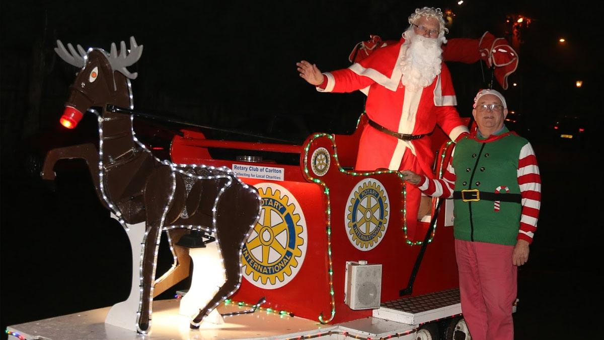 Santa will be out and about on Rotary Club of Carlton's float