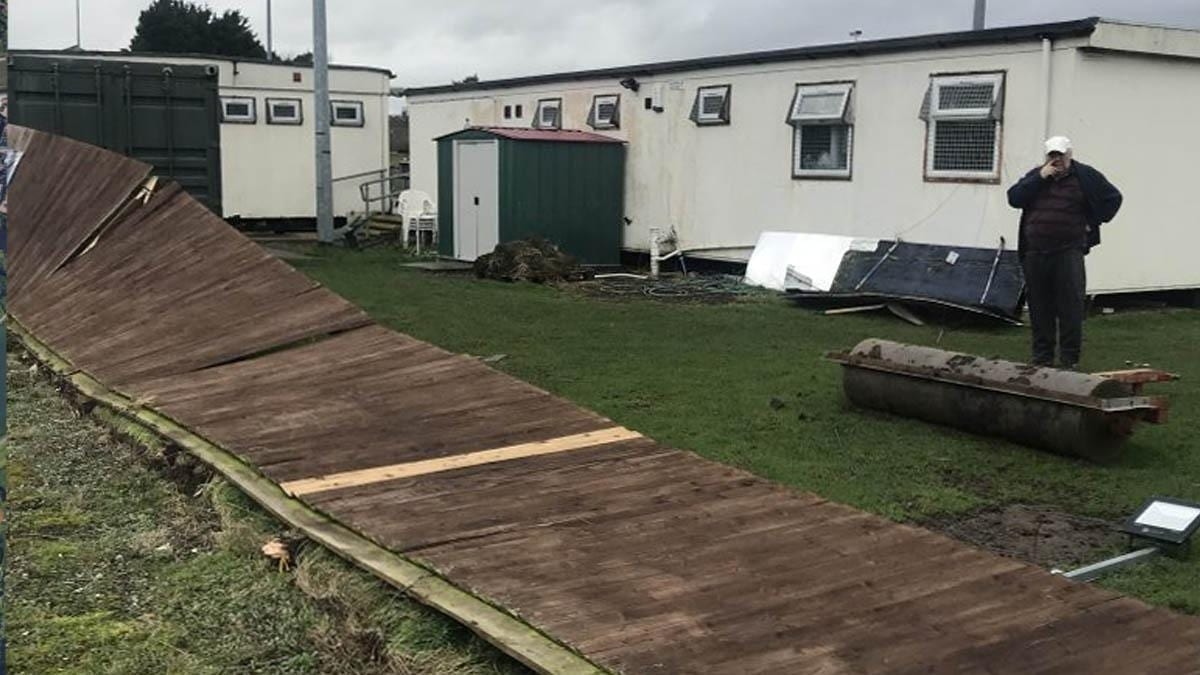 Carlton Town FC begin fundraising campaign to help repair ground damage caused by Storm Ciara