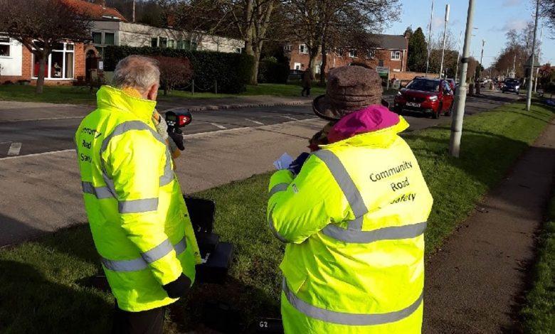 Volunteers check for speeding motorists in Burton Joyce