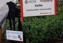 Photo of 'Silent Soldier' silhouette outside Carlton Fire Station suffers damage