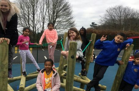 Keyworkers children were the first to enjoy new playground equipment at the school, not opened until after school closures saw the majority of pupils staying at home.