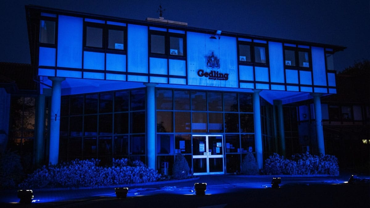 Gedling Borough Council's Civic Centre in Arnold is lit up blue to honour NHS workers