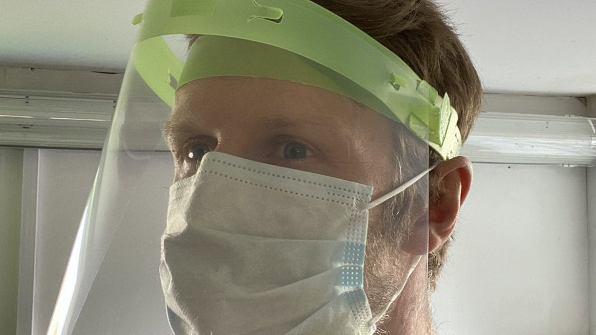 A visor produced for NHS workers
