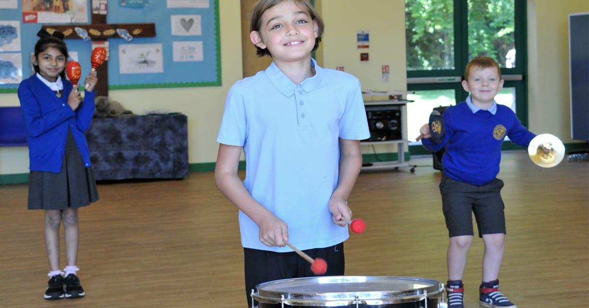 Burntstump pupils with instruments