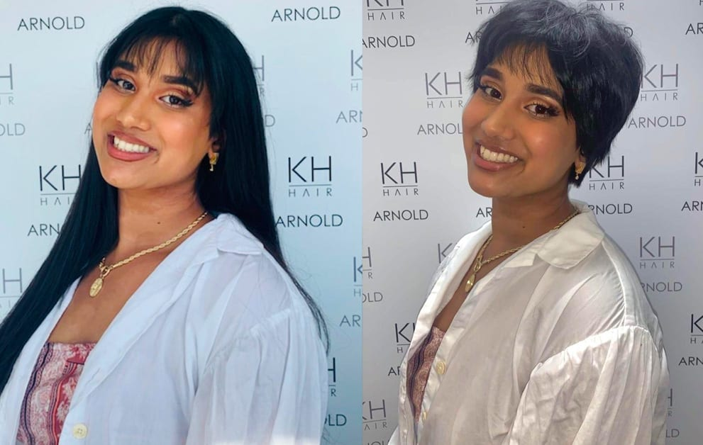 Aiesha before and after her cut