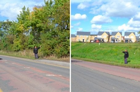 PICTURED: Arnold Lane before, left and right, after the trees were removed
