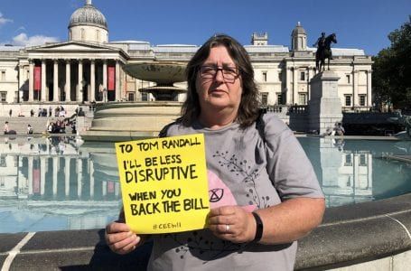 PICTURED: Amanda Pumo from Gedling at the protests in London