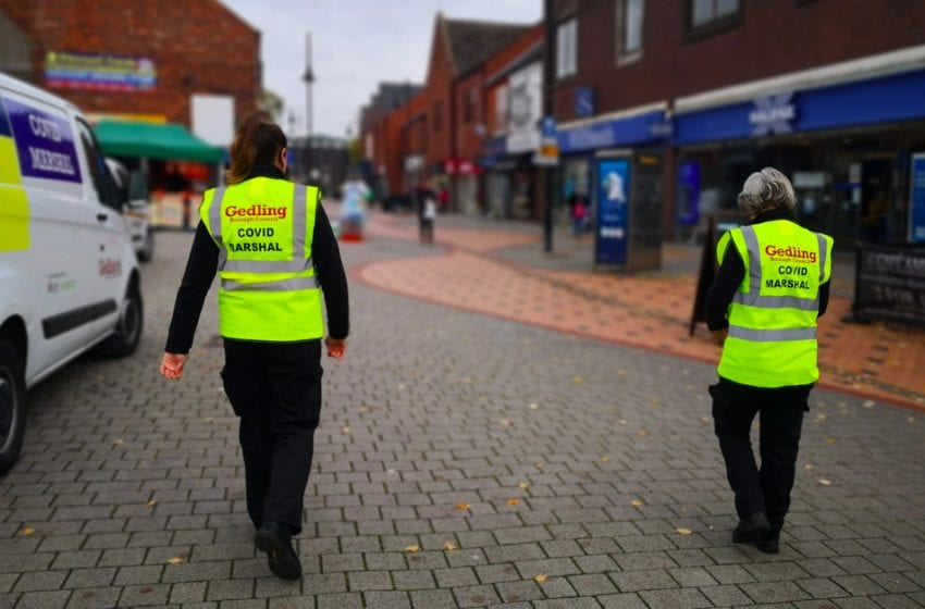 Covid marshals have started patrolling Gedling borough's streets to help people adhere to social distancing