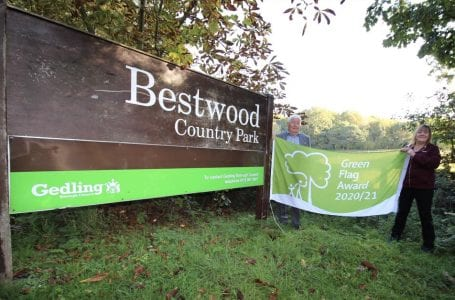 PICTURED: (l to r) Councillor Peter Barnes, Portfolio Holder for Environment and Jane Richardson, Parks Development Officer for Gedling Borough Council at the entrance to Bestwood Country Park.