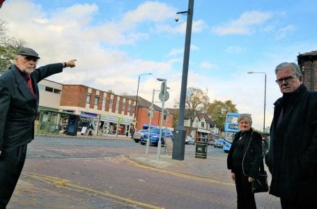 PICTURED: Councillors for Porchester, Councillor Bob Collis and Councillor Julie Najuk, and Leader of Gedling Borough Council, Councillor John Clarke next to one of the new CCTV Cameras on Plains Road, Mapperley.