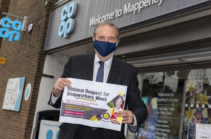 Police chief promotes Covid shop worker safety campaign during visit to Mapperley store