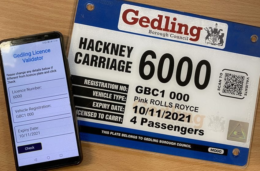 QR codes on taxi driver badges are being introduced to boost passenger safety in Gedling borough