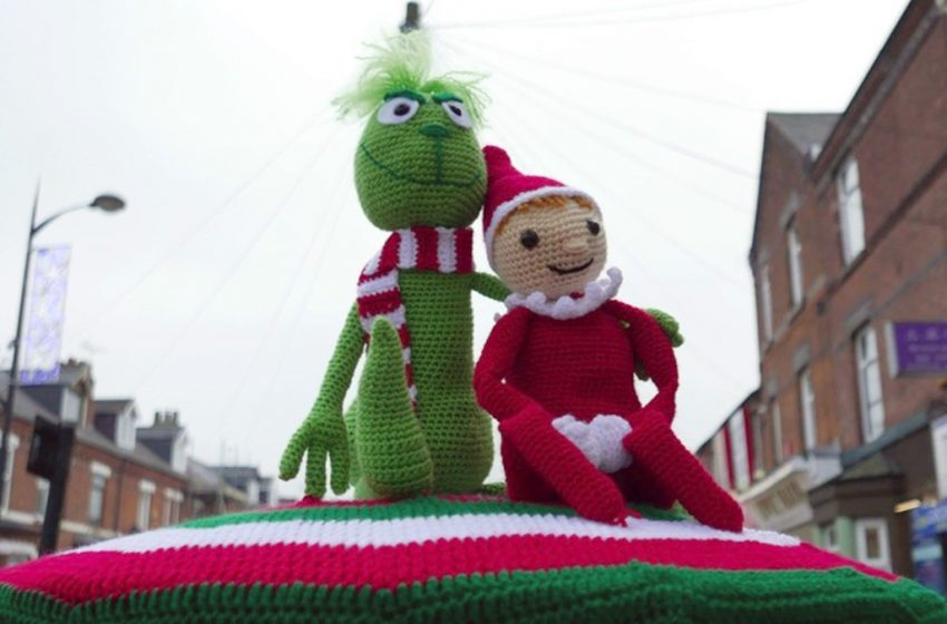 Crochet's answer to Banksy brings festive cheer to Netherfield with latest postbox creation